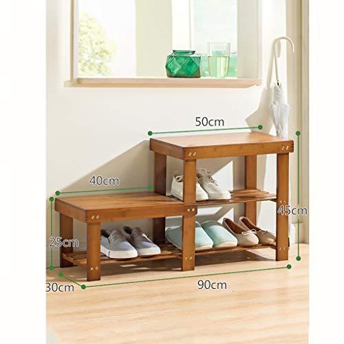 Schuhregal, Bambuslatten Haushaltshaus Mehrschichtmontage Schuhkarton Wirtschaftlicher Typ Schuhbank 100% natürlicher Bambus Schuhablage (Größe: E)