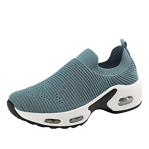 HWTOP Sportschuhe Damen Wedge Platform Loafers Sneakers Freizeitschuhe Dicke Unterschuhe Aufzug Plateauschuhe Socken Schuhe, Blau, 39 EU