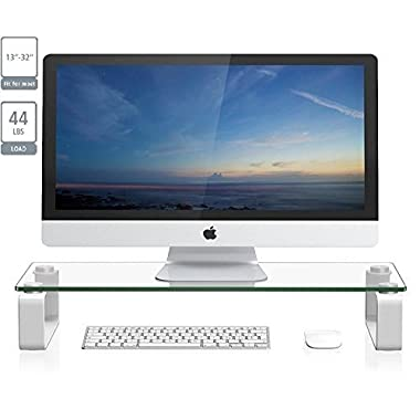 ProHT New Glass TV Stand Computer Monitor Riser (05433AA) for 13'' to 32'' LCD LED TV Save Space Destop Stand, Thick Tempered Clear Plate Glass,Max Load 44lbs,White.Power White