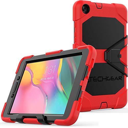 TECHGEAR G-Shock Funda Compatible con Nuevo Samsung Galaxy Tab A 8.0' 2019 (SM-T290 / SM-T295) - Funda Protectora Prueba de Choques con Soporte - Niños Escuelas Constructores Trabajadores [Rojo]