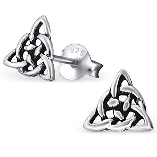 EYS JEWELRY Ohrstecker Damen Keltischer Dreiecks-Knoten Trinity 925 Sterling Silber oxidiert Damen-Ohrringe