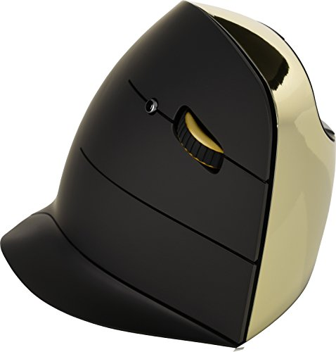 Evoluant Vertical Mouse C Series Wireless Right Hand Ergonomic Design Black/Chrome VMCRW, Clear