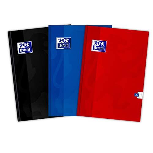 Oxford Cuaderno escolar A5, 96 hojas, cuadriculado, 3 unidades, mezcla de colores, 400151696, azul, negro y rojo