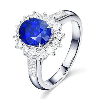 Bishilin Alianza de Boda de Oro Blanco de 18 Quilates para Mujer, Flor Oval Zafiro 2ct Diamante Anillo de Alianza de Boda de Compromiso de Aniversario Azul Plateadotamaño: 8