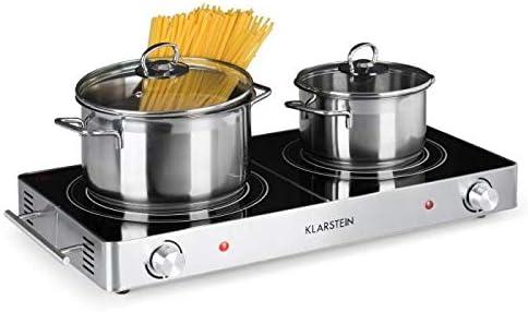 KLARSTEIN VariCook Duo - Plaque de cuissson électrique, Vitrocéramique, Infrarouge, 3000W, 2 Foyers halogènes, 20 et ...