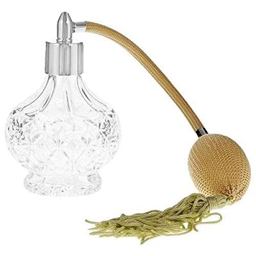 YUNHOME Botella De Perfume Vacía Perfume Recargable Frascos para Perfume Atomizador De Botella De Perfume De Cristal Transparente con Bomba De Pulverización De Borla Larga Amarilla 80 Ml-Plata
