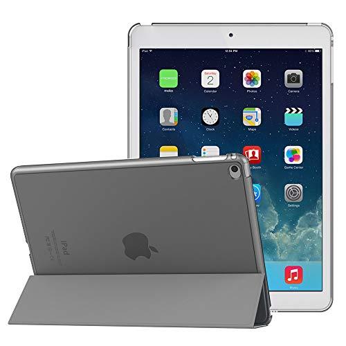 MoKo Hülle für Apple iPad Air 2 - PU Leder Tasche Schale Smart Case mit Translucent Rücken Deckel, mit Auto Schlaf/Wach Funktion und Standfunktion für iPad Air 2 9.7 Inch Tablet, Space Grau