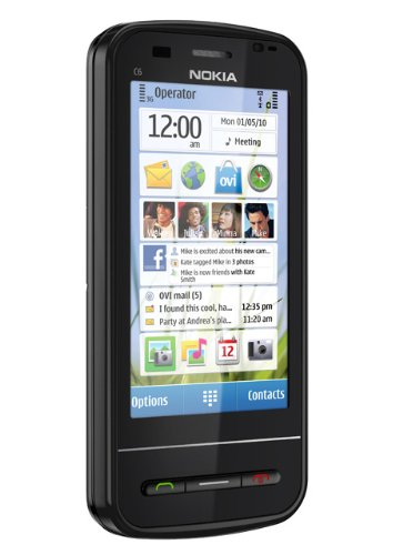 Nokia C6-00 Smartphone (8.1 cm (3.2 Zoll) Bildschirm, QWERTZ-Tastatur, Touchscreen, 5 Megapixel Kamera) schwarz