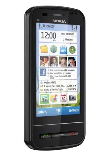 Nokia C6-00 Smartphone (Display 8,1 cm (3,2 pollici), Tastiera QWERTY, Touchscreen, Fotocamera 5 Megapixel ), colore: Nero