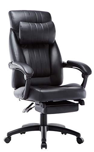 オフィスチェア デスクチェア 事務椅子 社長椅子 パソコンチェア 135度リクライニング フットレスト オットマン付き ハイバック(ブラック2)