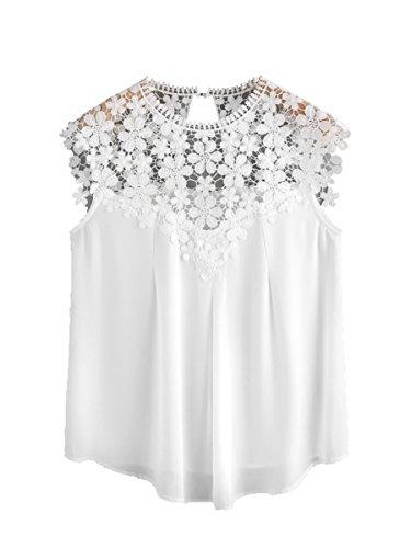 ROMWE Damen Elegant Ärmellos Chiffon Bluse mit Blumen Spitze Shirt Oberteil Bluse Weiß S