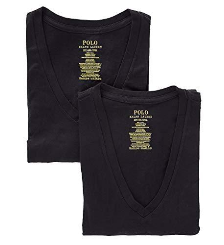 Polo Ralph Lauren Classic Tall Cotton V-Neck T-Shirt 2-Pack, 3X, Black