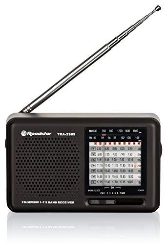 Roadstar tra de 2989Mundo Receptor de Radio, 10W Negro