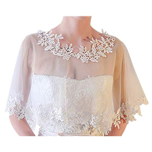 Ayliss Women Lace Wedding Shawls Wrap Bridal Embroidered Shrug Bolero Cape Shoulder Covers Up Evening Prom Party Dress (White)
