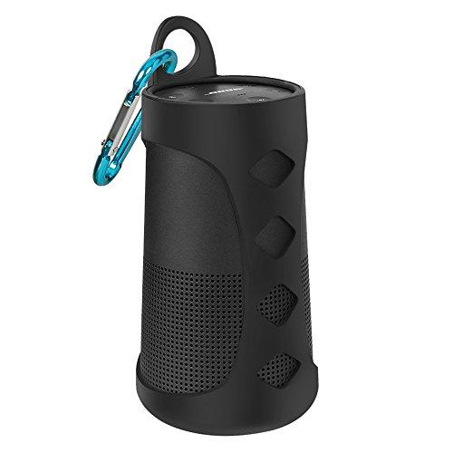 AresKo Silicona Funda para Soundlink Revolve, Estuche portátil Carry Case Cover para Bose SoundLink Revolve Bluetooth Altavoz, Negro