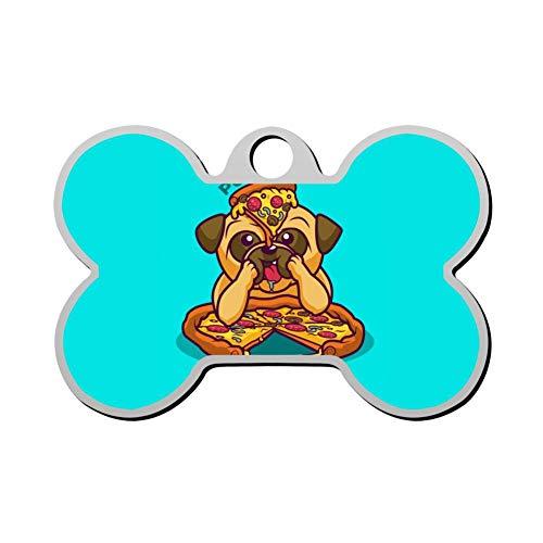 Aanpasbare Bone Shape ID labels, Creatieve Bulldog met Ham Pizza Gepersonaliseerde Dubbelzijdige Gedrukte Huisdier Informatie Kraag voor Kat Hond