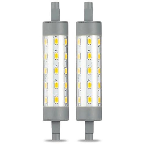 AmazonBasics Lampadina LED Lineare R7S 118 mm, 6.5W (equivalenti a to 60W), Luce Bianca Calda, Pacco da 2