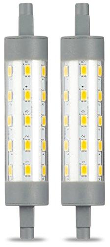 AmazonBasics Spot projecteur halogène LED R7S à double extrêmités, 6.5W (équivalent ampoule incandescente 60W), blanc chaud, 118 mm - Lot de 2