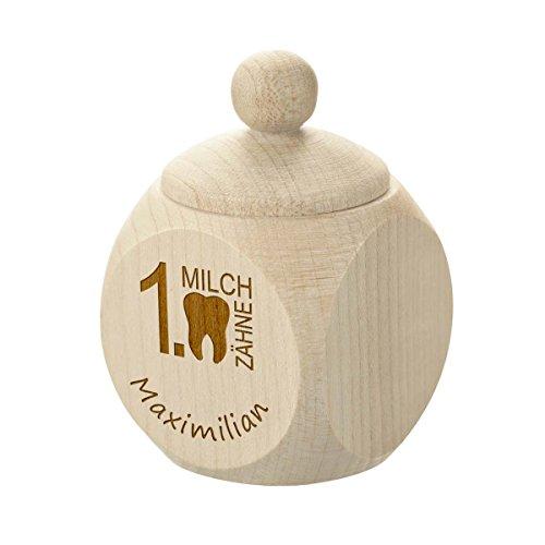 polar-effekt Zahndose aus Holz mit Gravur - Personalisierte Baby Zahnbox für Milchzähne als Geschenke für Jungen und Mädchen - Motiv erste Milchzähnchen