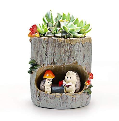 Huking Mini pot de fleurs succulent vintage en résine charnue pour intérieur décoration de bureau, Résine, marron, S