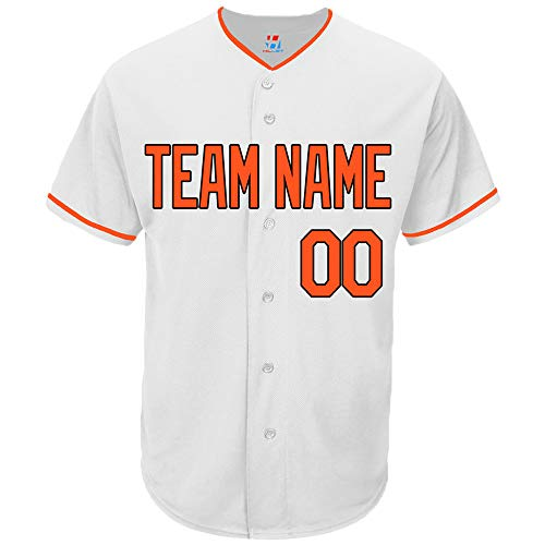 Pullonsy White Customized Baseball Jersey for Women Full Button Sewn Name & Number,Orange-Black,Size M