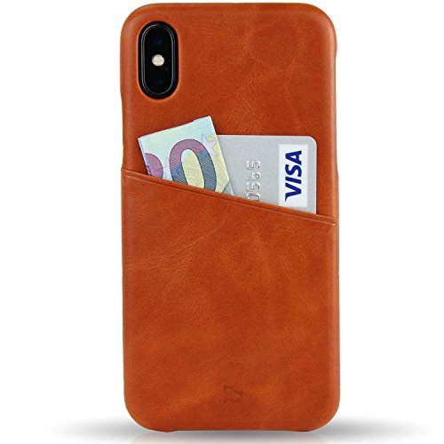 BULLAZO Menor Urban, Edle Hülle aus Leder mit Kartenfach, Kompatibel mit iPhone X 10 XS 10S, Cognac
