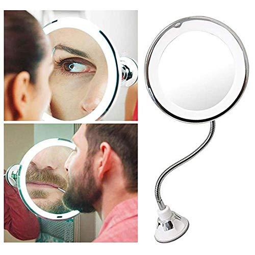 CRhzj LED Kosmetikspiegel Beleuchtet Zur Wandmontage 10-fache Vergrößerung USB Wiederaufladbare Aus Kristallglas Doppelseitig Für Die Wandmontage Befestigen Ohne Bohren Make-Up-Spiegel