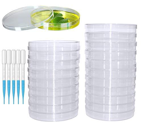 20 Piezas Placa de Petri de Plástico Transparente Placas de Petri Con Tapas Viene con 20 pipetas de transferencia de plástico (3mm) para laboratorio, experimento, biología, estudios de microbiología