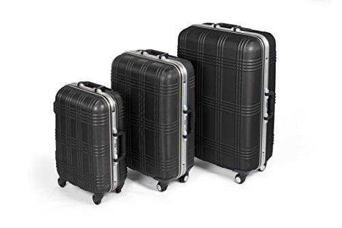 MasterGear Hartschalenkoffer mit Aluminium Rahmen Set 3 teilig in schwarz | 3er Kofferset | Koffer mit 4 Rollen (360 Grad) | Trolley, Reisekoffer, ABS, TSA, S (Handgepäck Maße)-M-L, stapelbar