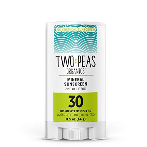 Two Peas Organics Sunscreen Stick - All Natural Organic Mineral Face Sunscreen - Baby, Kid & Family Friendly - Coral Reef Safe - SPF 30 Waterproof & Unscented .5oz