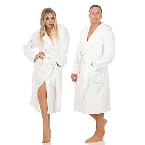 CLASS HOME COLLECTION Unisex Damen Herren Frottee Kapuze Bademantel Saunamantel Morgenmantel 100{635277b6525daa7d0573c44ef97d40632098a99556d0c153ce09a6da1d0c65de} Baumwolle Öko-Tex Zertifiziert (Weiß, M)