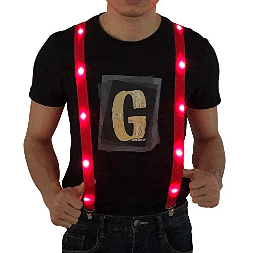 Glowing Light up LED Suspenders Novelty Party Costume Adjustable Y Shape Suspenders Supplies (Red)
