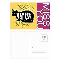 黒猫のシルエットのナチュラル ポストカードセットサンクスカード郵送側20個ミス