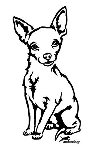 amberdog Chihuahua Autosticker raamfolie Art.Nr.AT0103 sticker voor auto camper caravan autosticker 30x20cm zwart