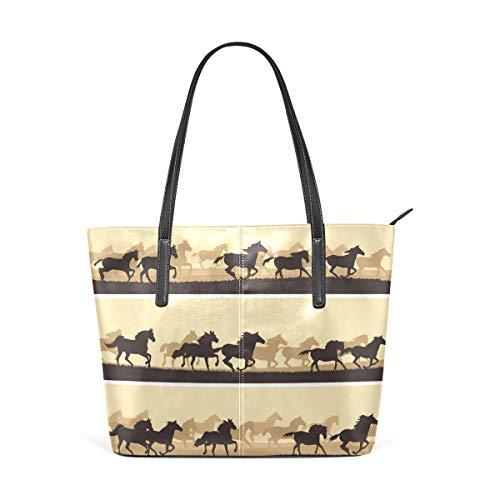 KaariDream トートバッグ レディース PU レザー 大容量 通勤 通学 旅行 軽量 A4対応 馬柄 アニマル 動物柄 茶 ブラウン かわいい 可愛い 男女兼用 バッグ 肩掛け ハンドバッグ 軽い 大きめ おしゃれ かわいい プレゼント ギフト