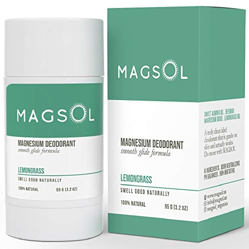 MAGSOL Natural Deodorant for Men & Women - Mens Deodorant with Magnesium - Perfect for Ultra Sensitive Skin, Aluminum Free Deodorant for Women, Baking Soda Free 3.2 oz (Lemongrass)