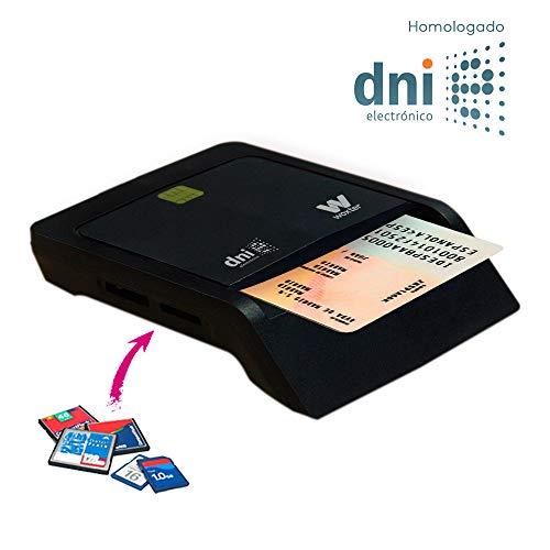 Woxter Lector Dni Combo - Lector DNI electrónico, Compatible con Las Tarjetas Smart Cards o Tarjetas Inteligentes, con 3 Ranuras para Tarjetas, Color Negro