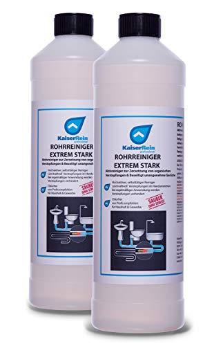 KaiserRein Rohrreiniger & Abflussreiniger extrem stark Profi Spar Set 2 x 1l flüssig gegen Geruch und Haare