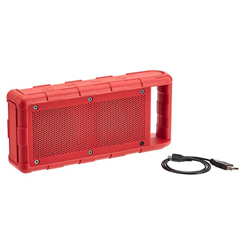 Amazon Basics - Altavoz portátil con Bluetooth para exterior, con resistencia al agua IPX5, 15W, rojo