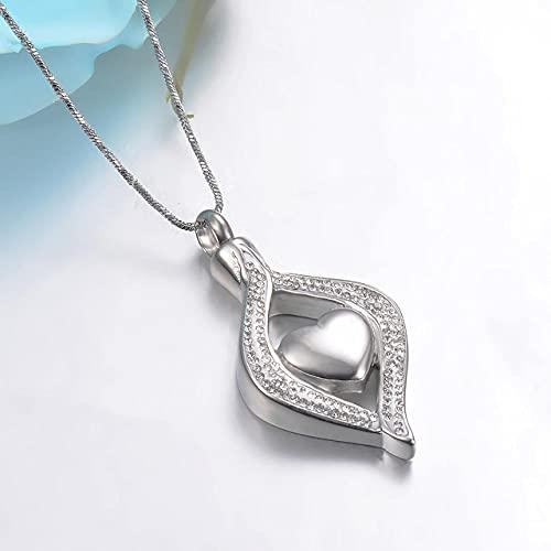 KBFDWEC Collar conmemorativo con Colgante de urna de cremación con Forma de lágrima de Cristal para Mujer, Soporte para Cenizas de Acero Inoxidable, joyería de Recuerdo