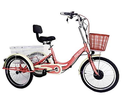 Triciclo da 20 pollici bicicletta elettrica a 3 ruote per adulti 250W 36V 8AH batteria al litio city bike mini, telaio posteriore allargato, telaio anteriore, shopping con sedia sedile
