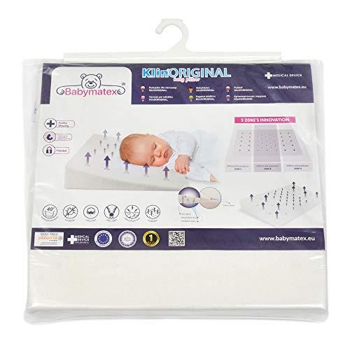Almohada para bebé antiplagiocefalia marca CE para bebés y niños Medical Device anti reflujo antiasfixia hipoalergénico Made in EU y OEKO-TEX para cuna y cuna desenfundable 40 x 36 (blanco)