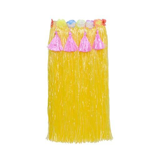 U/A Beach Party Girls Fancy Dress Costume Luau Hula Skirt Flowers Headband Bracelet Anklets Garland (Red, 80cm)