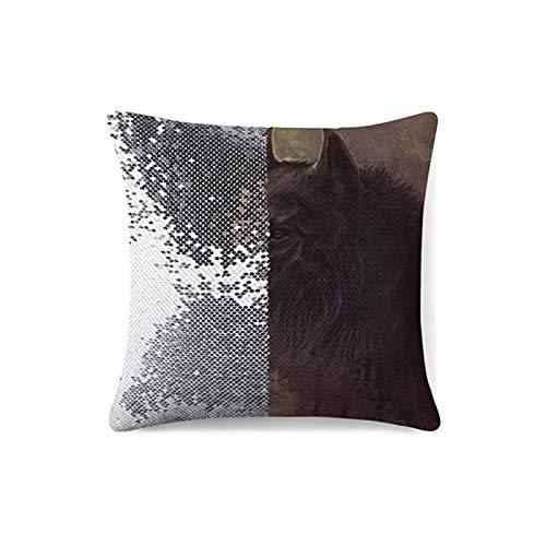 KAZOGU - Fundas de cojín reversibles con lentejuelas, diseño de gato negro que desaparece y cambia, para decoración del dormitorio