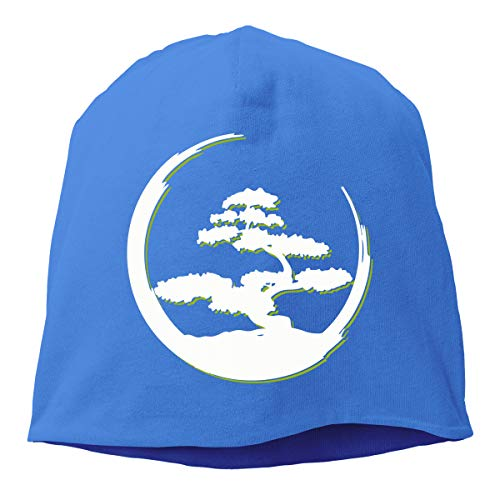 Men's and Women's Stretchy Knitted Hat, Bonsai Tree Skull Cap for Mens & Womens Blue