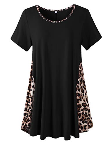 LARACE Leopard Print Tops For Women Short Sleeve Plus Size Tunics Color Block Tee Shirt(Black 3X)