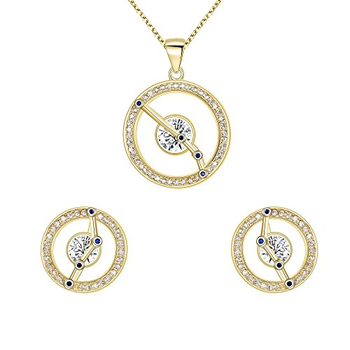 FANZE Mujer Plata de Ley 925 CZ Horóscopo Zodiaco 12 Constelación Colgante Collar Pendientes Conjuntos Oro