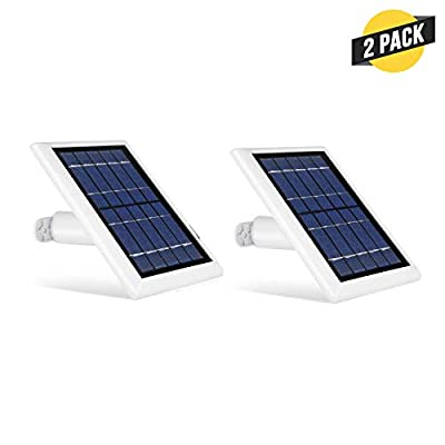 Wasserstein Solar Panel Compatible with Ring Spotlight Cam Battery - Power Your Ring Surveillance Camera continuously (2 Pack, White)