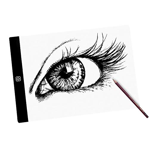 A4 Light Box Drawing Pad, Portable Ultra-Thin Adjustable Brightness, USB Powered Tracing Light Pad,LED Copy Board for Artists Drawing, Sketching,24 * 15cm,stepless dimming