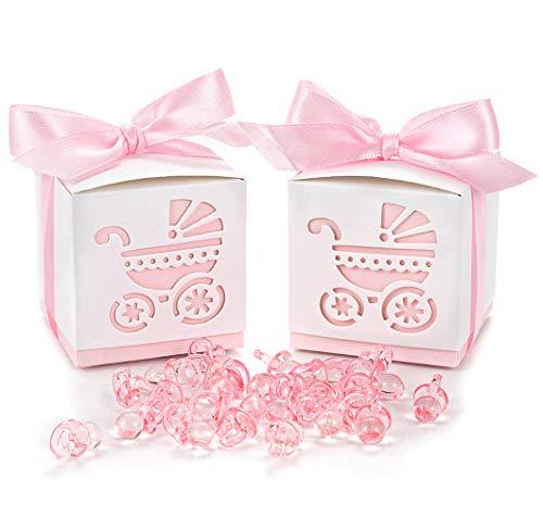 QILICZ 50 STK. Gastgeschenk Süßigkeiten Schachtel mit 50 Mini Dekoschnuller, Kinderwagen Muster Candy Box für Baby Mädchen Geburtstag Taufe Neugeborenen Babyparty Shower Konfirmation Kommunion